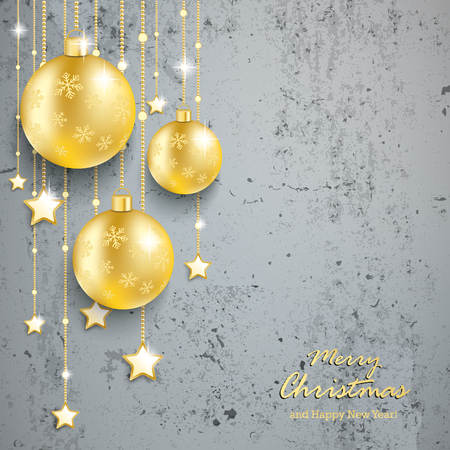 options: Christmas baubles on the beton. Eps 10 vector file. Illustration