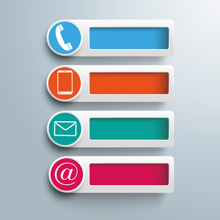 Banners with holes and contact icons on the gray background. Eps 10 vector file. Vettoriali