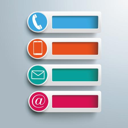 Banners met gaten en contact pictogrammen op de grijze achtergrond. Eps 10 vector bestand. Stock Illustratie
