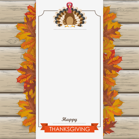 thanksgiving family: Oblong banner with ribbon, turkey and wooden background. Eps 10 vector file.