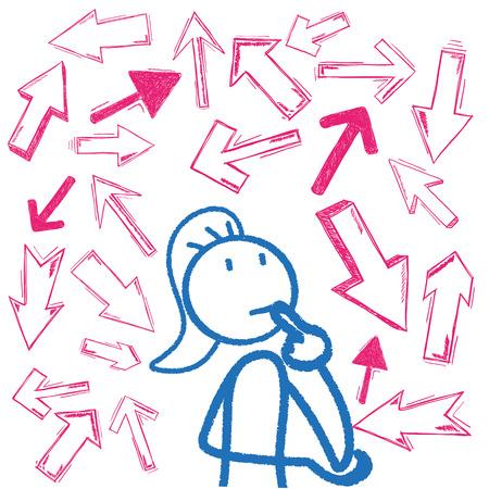 bonhomme allumette: stickman Femme avec des flèches roses. Eps 10 fichier vectoriel. Illustration