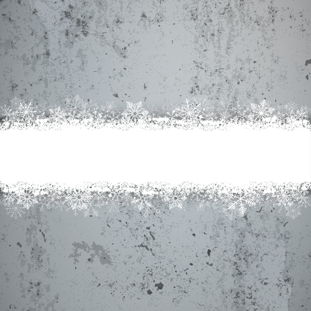 concrete background: Christmas cover with white snowflakes on the concrete background. Eps 10 vector file.
