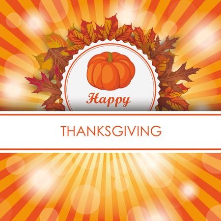 Thanksgiving design with banner, emblem, foliage and pumpkin. Eps 10 vector file.