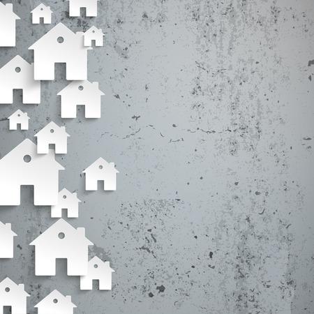 Infografika z białymi domami na betonowym tle. Eps 10 plik wektorowy. Ilustracje wektorowe