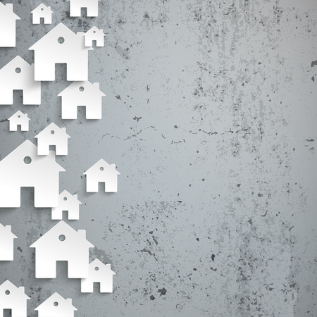Infographic de maisons blanches sur le fond en béton. Eps 10 fichier vectoriel. Banque d'images - 45918552