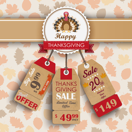 onlineshop: 3 price stickers with thanksgiving emblem, turkey and autumn foliage. Eps 10 vector file.