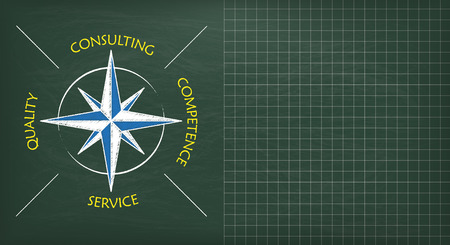 competence: Compass with text consulting, quality, competence, service. Eps 10 vector file.