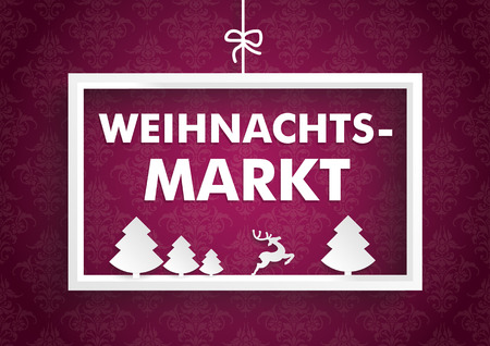 weihnachtsmarkt: White christmas frame on the purple background with ornaments. German text Weihnachtsmarkt, translate Christmas Market. Eps 10 vector file.