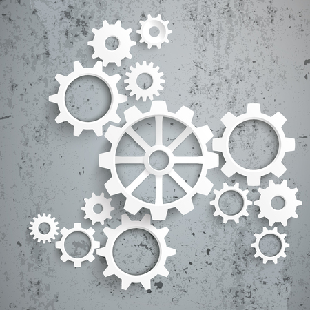 engranes: Engranajes blancos con centro en el fondo de hormigón. Eps 10 archivos de vectores. Vectores