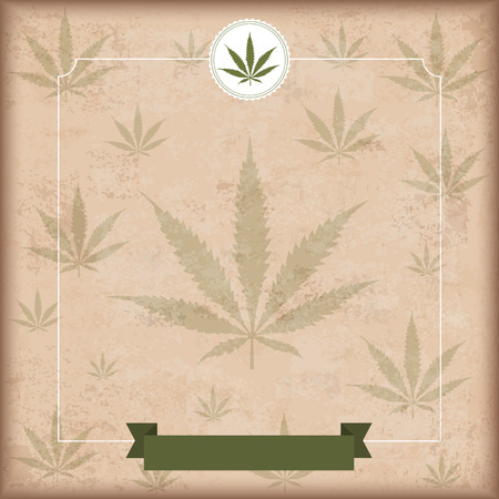 analgesics: Vintage background with hemp leave and green ribbon. Eps 10 vector file.
