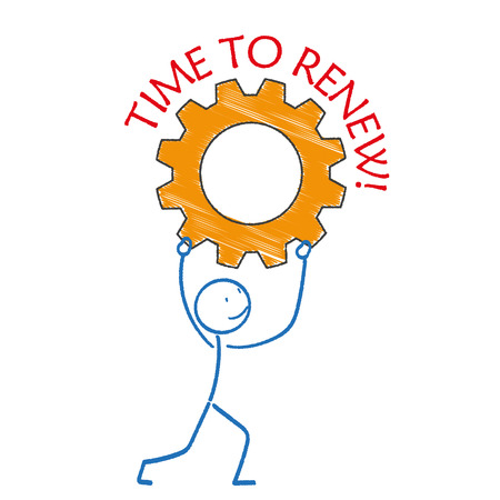 wheel change: Stickman with gear and text time for renew. Eps 10 vector file.
