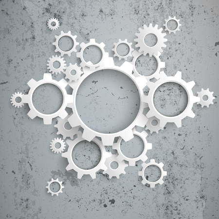 concrete background: White gears on the concrete background. Eps 10 vector file. Illustration