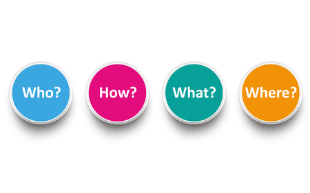 Circles with text Who, How, What, Where. Eps 10 vector file. Illustration