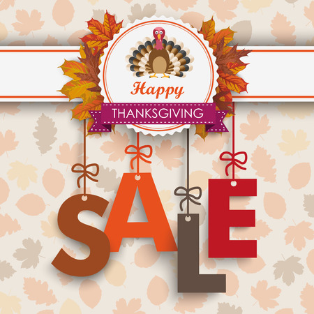acer: Text Sale with thanksgiving emblem, turkey and autumn foliage. Eps 10 vector file. Illustration