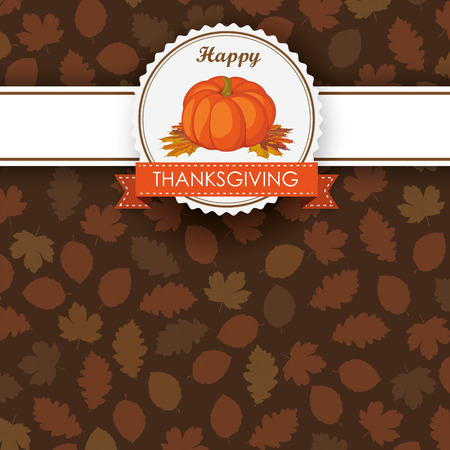 prongs: Foliage in autumn colors with thanksgiving emblem and pumpkin on white background. Eps 10 vector file. Illustration