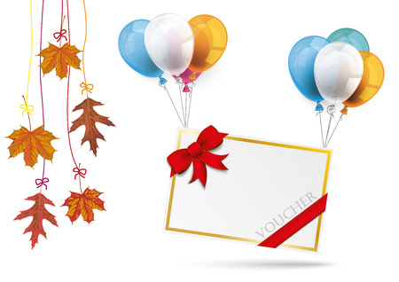 chit: Paper frame with balloons, foliage and text Vocher. Eps 10 vector file.