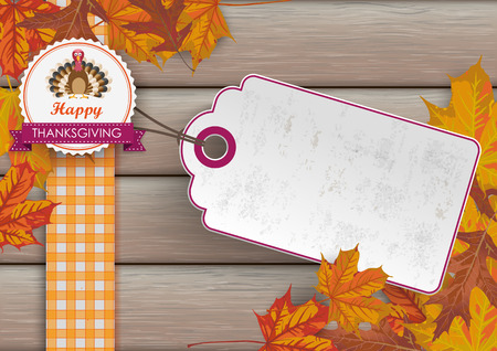 price sticker: Foliage with price sticker on the wooden background. Eps 10 vector file. Illustration