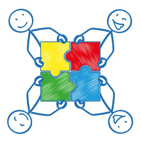 circulo de personas: 4 stickmen con piezas de un rompecabezas rectángulo. Eps 10 archivos de vectores.
