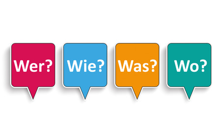 where: German text Wer Wie Was Wo, translate Who, How, What, Where. Eps 10 vector file.