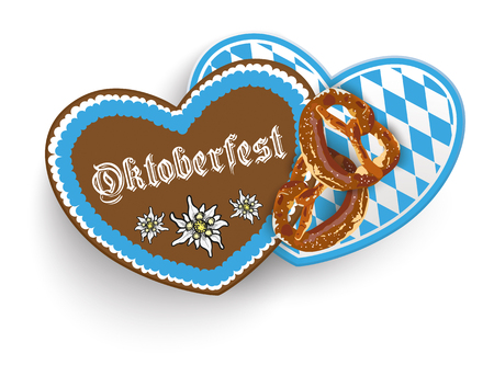 gingerbread heart: Oktoberfest with hearts and pretzels design on the white background. Eps 10 vector file. Illustration