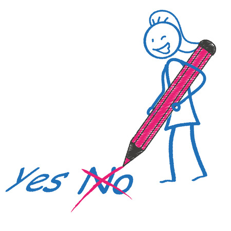 possibility: Female stickman with pen and text Yes No. Eps 10 vector file. Illustration