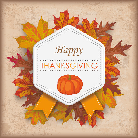 cucurbit: Vintage background with emblem, foliage and text Happy Thanksgiving Eps 10 vector file.