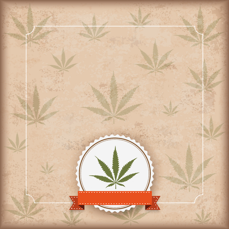 thc: Vintage background with hemp leave and green ribbon. Eps 10 vector file.