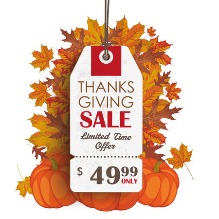 Thanksgiving sale price sticker with foliage and pumpkins. Eps 10 vector file. Illustration