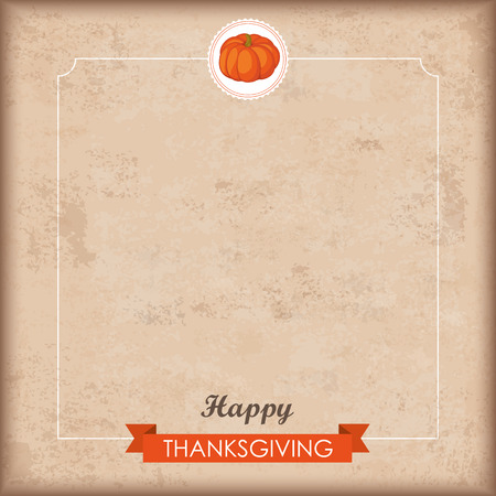 cucurbit: Vintage background with emblem, pumpkin, ribbon and text Happy Thanksgiving. Eps 10 vector file.