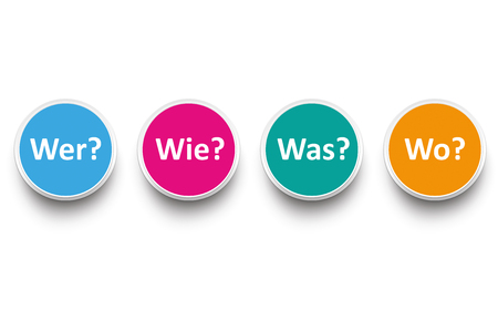 how: German text Wer Wie Was Wo, translate Who, How, What, Where. Eps 10 vector file.