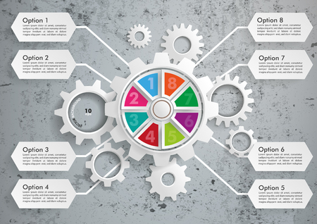 the explanation: Infographic with gears on the concrete background. Eps 10 vector file.