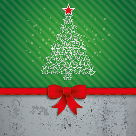 gift card: Christmas tree with white stars on the green background. Eps 10 vector file.