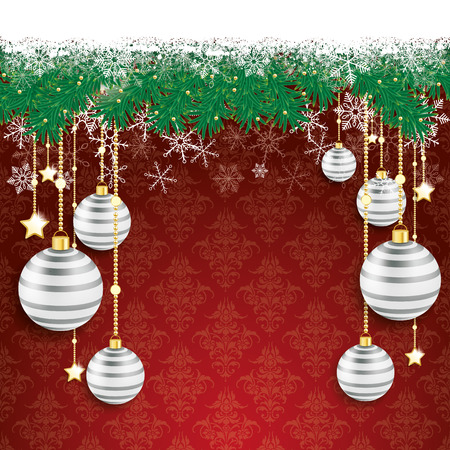 twigs: Fir twigs with snow on the red background with ornaments. Eps 10 vector file. Illustration