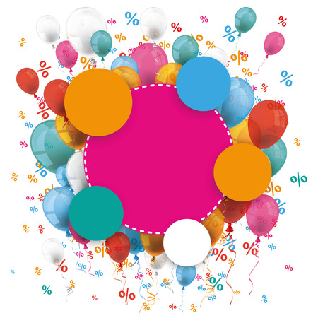 eps 10: Colored paper circles with colored balloons and percents on the white. Eps 10 vector file.