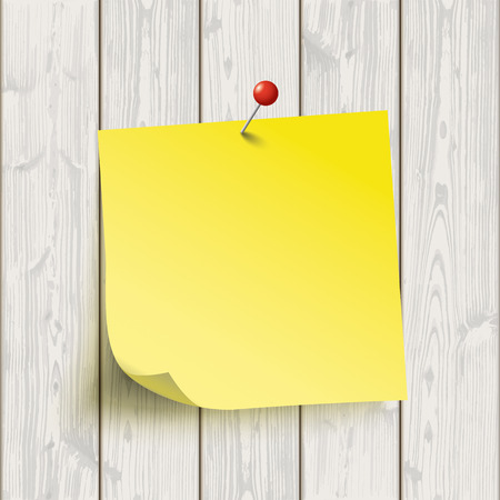 yellow tacks: Wooden board with yellow sticker. Eps 10 vector file. Illustration
