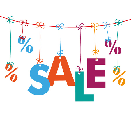 retail sales: Percents with text Sale on the white background. Eps 10 vector file.