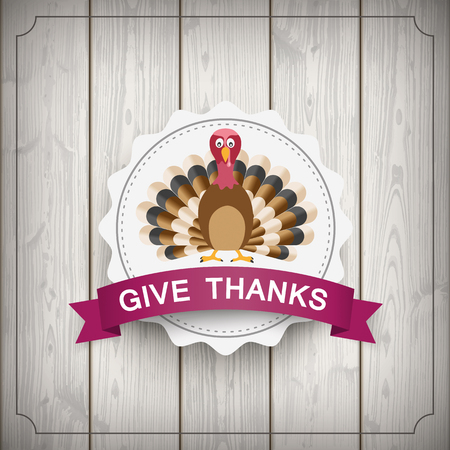 gobble: Wooden background with emblem, turkey and text Give Thanks. Eps 10 vector file.