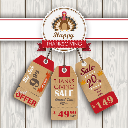onlineshop: 3 price stickers with thanksgiving emblem, turkey on wooden background. Eps 10 vector file.