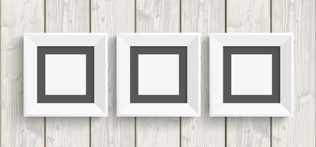quadrat: Wooden background with 3 picture frames. Eps 10 vector file. Illustration