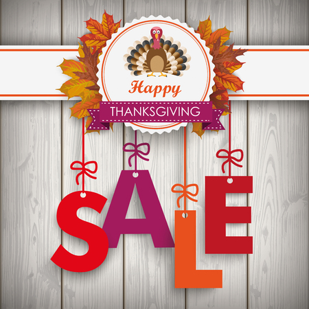 Text Sale with thanksgiving emblem, turkey and autumn foliage. Eps 10 vector file. Illustration