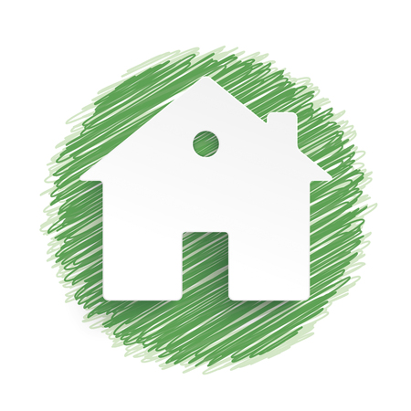 internet mark: House on green scribble lines. Eps 10 vector file.