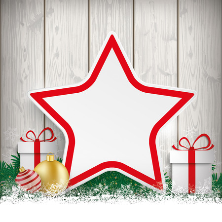 Fir twigs with snow, star, gifts and baubles on the wooden background. Eps 10 vector file.