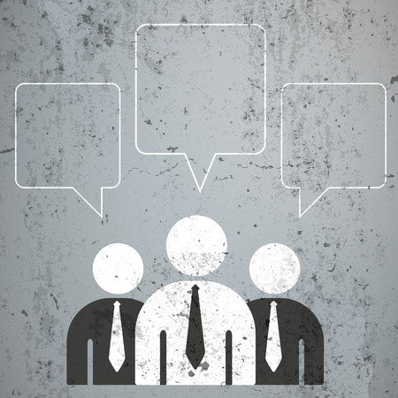 3 businessmen with speech bubbles on the concrete. Eps 10 vector file.