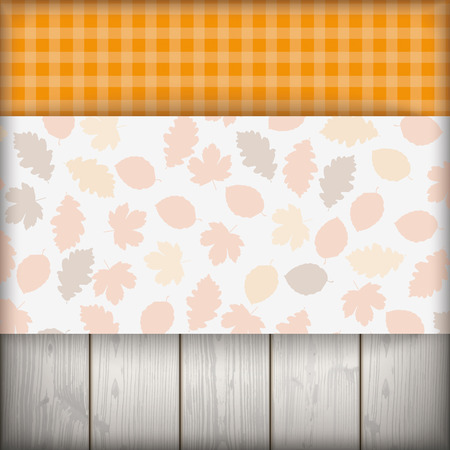limetree: Checked cloth with autumnd foliage cover. Eps 10 vector file. Illustration