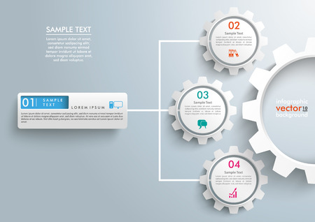 Infographic templae with 3 gears on the gray background. Illustration