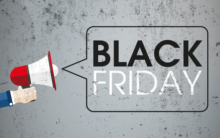 saving: Hand with bullhorn, speech bubble and text Black friday on the concrete background. Eps 10 vector file.