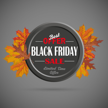 black circle: Black friday ring with foliage on the dark background. Eps 10 vector file. Illustration