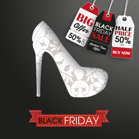 onlineshop: Shoue with ribbon, price stickers and text black friday. Eps 10 vector file.