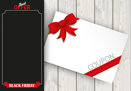 oblong: Oblong banner with coupon and wooden background. Eps 10 vector file.