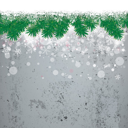 twigs: Christmas cover with white snowflakes and fir twigs on the concrete background. Eps 10 vector file. Illustration